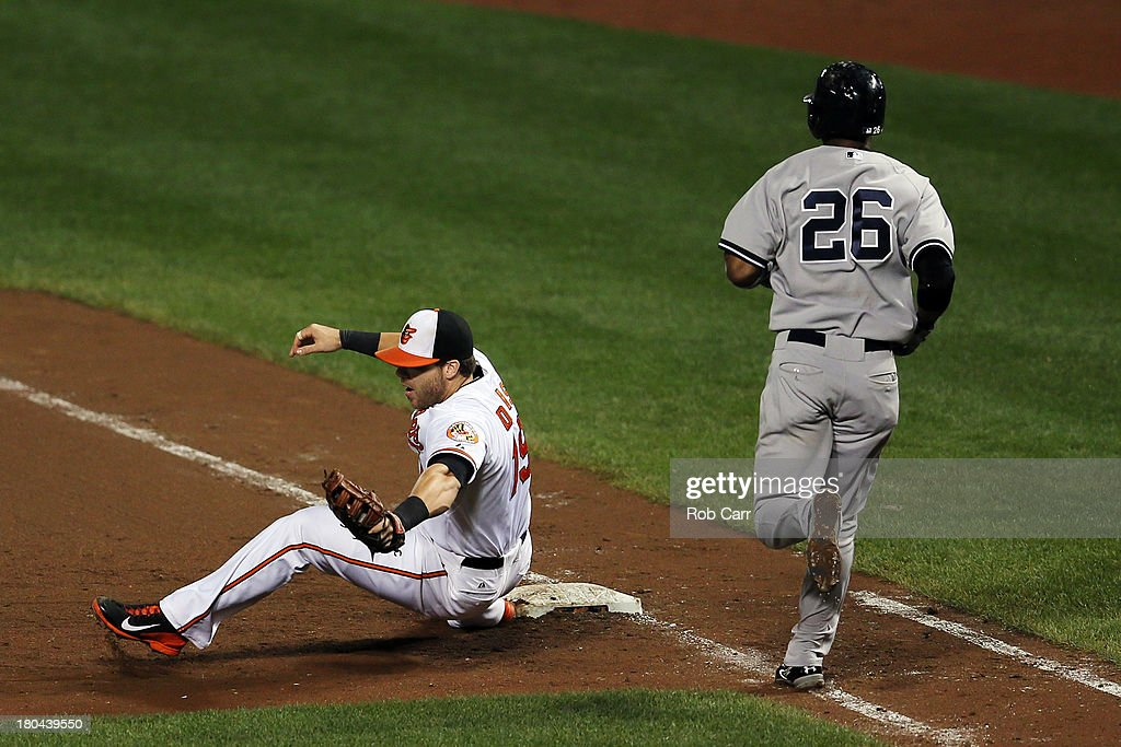 First baseman Chris Davis #19 of the Baltimore Orioles forces out <a gi-track='captionPersonalityLinkClicked' href=/galleries/search?phrase=Eduardo+Nunez&family=editorial&specificpeople=4900197 ng-click='$event.stopPropagation()'>Eduardo Nunez</a> #26 of the New York Yankees during the eighth inning at Oriole Park at Camden Yards on September 12, 2013 in Baltimore, Maryland.
