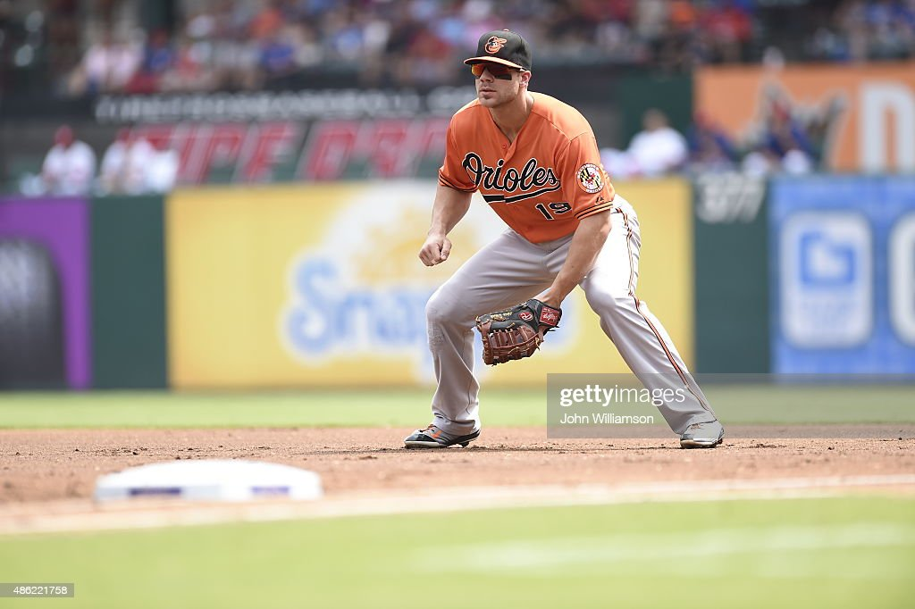 First baseman <a gi-track='captionPersonalityLinkClicked' href=/galleries/search?phrase=Chris+Davis+-+Baseball+-+Texas+Rangers&family=editorial&specificpeople=7129264 ng-click='$event.stopPropagation()'>Chris Davis</a> #19 of the Baltimore Orioles looks to home plate as the pitch is delivered in the game against the Texas Rangers at Globe Life Park in Arlington on August 30, 2015 in Arlington, Texas. The Texas Rangers defeated the Baltimore Orioles 6-0.