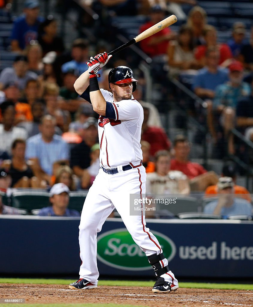 First baseman Chris Johnson of the Atlanta Braves waits in the batter's box for a pitch during the game against the San Francisco Giants at Turner...