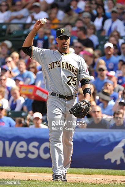 First baseman Derrek Lee of the Pittsburgh Pirates stands on the field during the first inning against the Chicago Cubs at Wrigley Field on September...