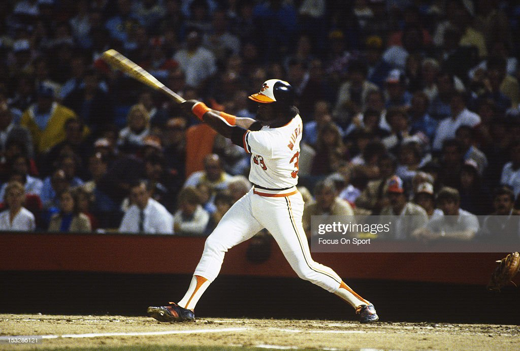 First baseman <a gi-track='captionPersonalityLinkClicked' href=/galleries/search?phrase=Eddie+Murray&family=editorial&specificpeople=210573 ng-click='$event.stopPropagation()'>Eddie Murray</a> #33 of the Baltimore Orioles bats against the Philadelphia Phillies during the World Series circa 1983 at Memorial Stadium in Baltimore, Maryland. Baltimore won the series 4 games to 1..