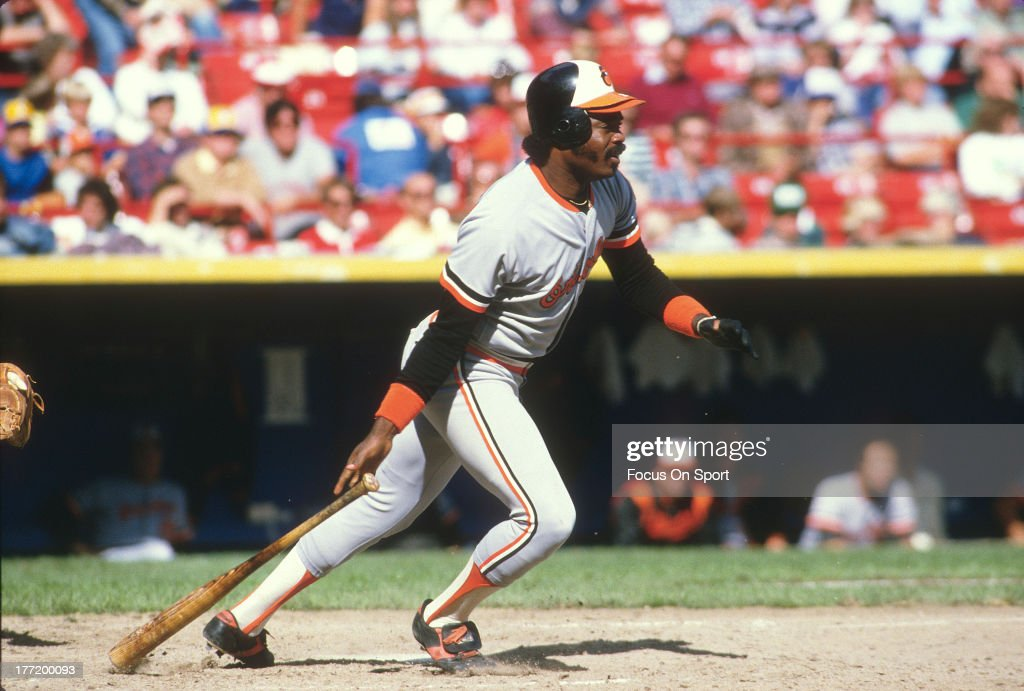 First baseman <a gi-track='captionPersonalityLinkClicked' href=/galleries/search?phrase=Eddie+Murray&family=editorial&specificpeople=210573 ng-click='$event.stopPropagation()'>Eddie Murray</a> #33 of the Baltimore Orioles bats against the Milwaukee Brewers during an Major League Baseball game circa 1987 at Milwaukee County Stadium in Milwaukee, Wisconsin. Murray played for the Orioles from 1977-88 and 1996.