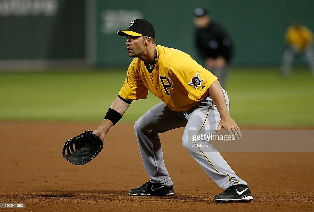 First baseman <a gi-track='captionPersonalityLinkClicked' href=/galleries/search?phrase=Garrett+Jones&family=editorial&specificpeople=835861 ng-click='$event.stopPropagation()'>Garrett Jones</a> #46 of the Pittsburgh Pirates defends against the Boston Red Sox during a Grapefruit League Spring Training Game at JetBlue Park on March 1, 2013 in Fort Myers, Florida.