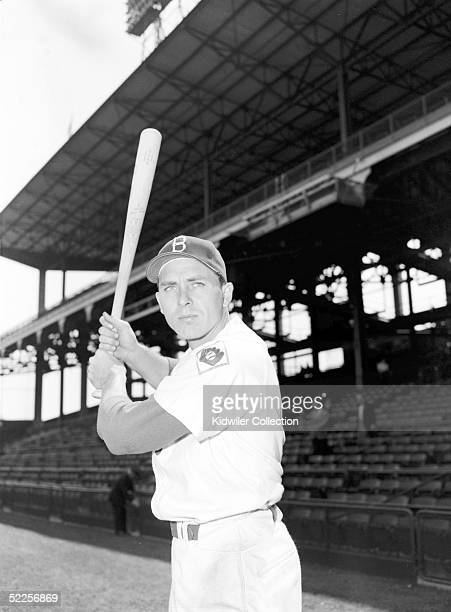 First baseman Gil Hodges of the Brooklyn Dodgers poses for an action portrait during the 1951 season at Ebbets Field in Brooklyn New York