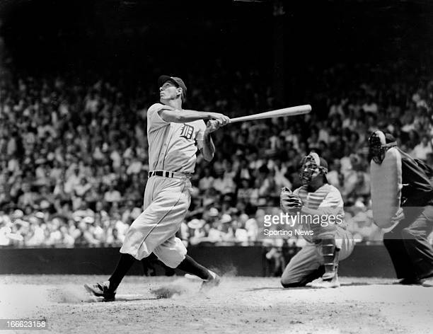 First baseman Hank Greenberg of the Detroit Tigers swings at a pitch Greenberg is a member of the Baseball Hall of Fame
