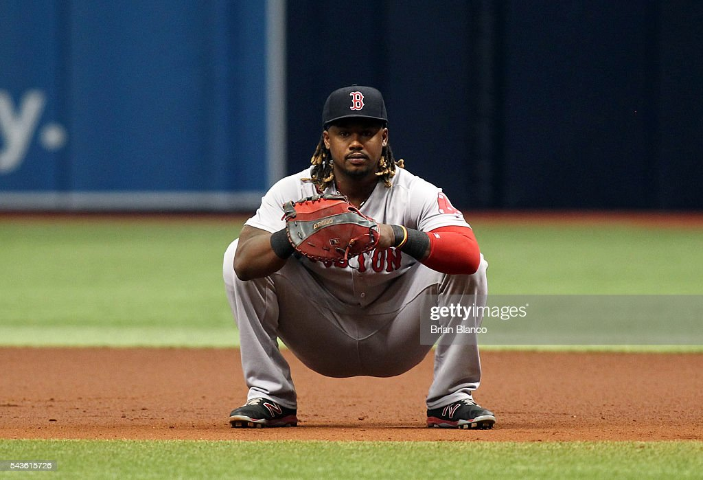First baseman <a gi-track='captionPersonalityLinkClicked' href=/galleries/search?phrase=Hanley+Ramirez&family=editorial&specificpeople=538406 ng-click='$event.stopPropagation()'>Hanley Ramirez</a> #13 of the Boston Red Sox waits at first base between pitches during the first inning of a game against the Tampa Bay Rays on June 29, 2016 at Tropicana Field in St. Petersburg, Florida.