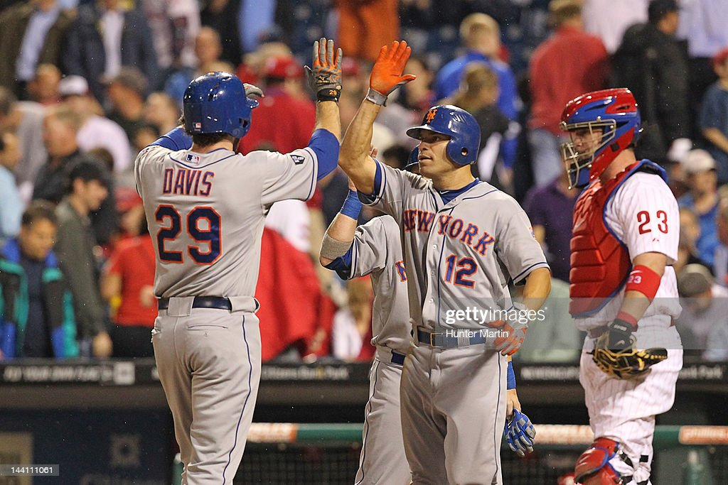 First baseman <a gi-track='captionPersonalityLinkClicked' href=/galleries/search?phrase=Ike+Davis&family=editorial&specificpeople=2349664 ng-click='$event.stopPropagation()'>Ike Davis</a> #29 of the New York Mets is congratulated by right fielder <a gi-track='captionPersonalityLinkClicked' href=/galleries/search?phrase=Scott+Hairston&family=editorial&specificpeople=836506 ng-click='$event.stopPropagation()'>Scott Hairston</a> #12 after hitting a home run during a game against the Philadelphia Phillies at Citizens Bank Park on May 9, 2012 in Philadelphia, Pennsylvania.