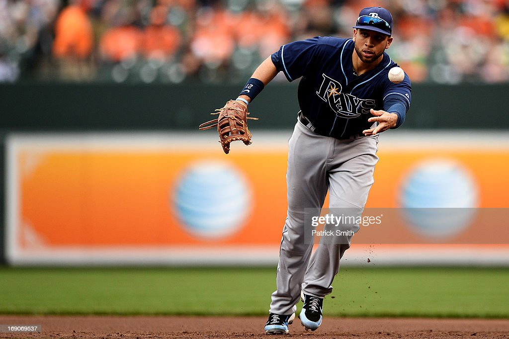 First baseman <a gi-track='captionPersonalityLinkClicked' href=/galleries/search?phrase=James+Loney&family=editorial&specificpeople=636293 ng-click='$event.stopPropagation()'>James Loney</a> #21 of the Tampa Bay Rays makes a play for an out against the Baltimore Orioles in the eighth inning at Oriole Park at Camden Yards on May 19, 2013 in Baltimore, Maryland. The Tampa Bay Rays won, 3-1.