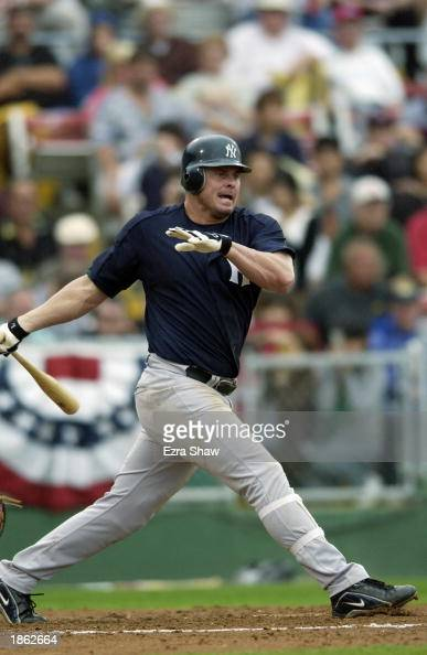 First baseman Jason Giambi of the New York Yankees at bat against the Philadelphia Phillies in a spring training game on February 28 2003 at Jack...