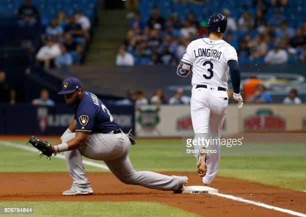 First baseman Jesus Aguilar of the Milwaukee Brewers hauls in the throw from second baseman Eric Sogard for the out at first base on Evan Longoria of...