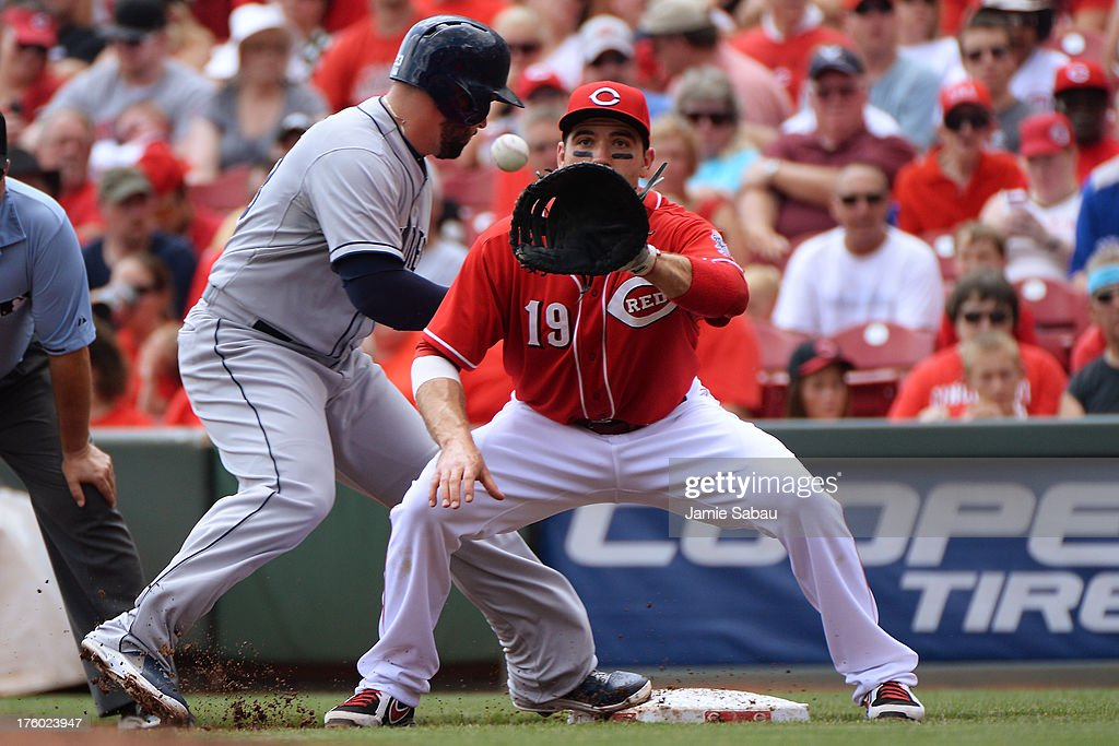 First baseman <a gi-track='captionPersonalityLinkClicked' href=/galleries/search?phrase=Joey+Votto&family=editorial&specificpeople=759319 ng-click='$event.stopPropagation()'>Joey Votto</a> #19 of the Cincinnati Reds takes the throw on a pick off attempt on <a gi-track='captionPersonalityLinkClicked' href=/galleries/search?phrase=Yonder+Alonso&family=editorial&specificpeople=4424898 ng-click='$event.stopPropagation()'>Yonder Alonso</a> #23 of the San Diego Padres in the first inning at Great American Ball Park on August 11, 2013 in Cincinnati, Ohio. Alonso was safe.