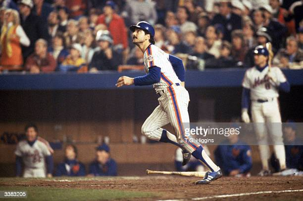 First baseman Keith Hernandez of the New York Mets looks for the ball he hit during game 7 of the 1986 World Series against the Boston Red Sox at...