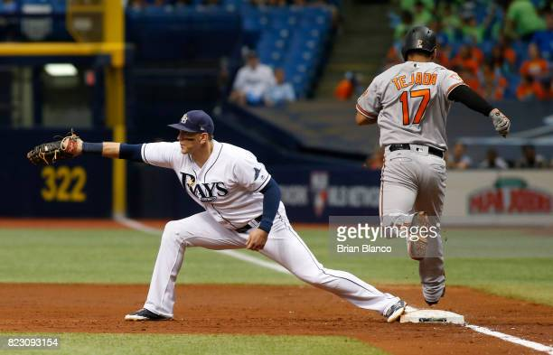 First baseman Logan Morrison of the Tampa Bay Rays hauls in the throw to complete the double play with the out at first base on Ruben Tejada of the...