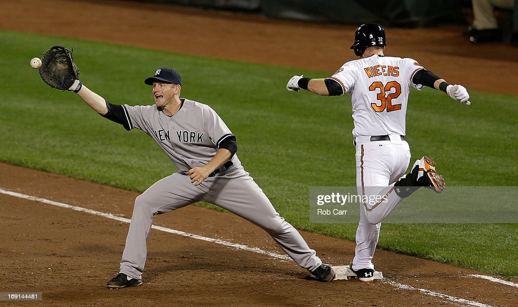 First baseman <a gi-track='captionPersonalityLinkClicked' href=/galleries/search?phrase=Lyle+Overbay&family=editorial&specificpeople=214072 ng-click='$event.stopPropagation()'>Lyle Overbay</a> #55 of the New York Yankees waits for the throw as <a gi-track='captionPersonalityLinkClicked' href=/galleries/search?phrase=Matt+Wieters&family=editorial&specificpeople=4498276 ng-click='$event.stopPropagation()'>Matt Wieters</a> #32 of the Baltimore Orioles tags the bag during the sixth inning at Oriole Park at Camden Yards on May 20, 2013 in Baltimore, Maryland. Wieters was called out on the play.