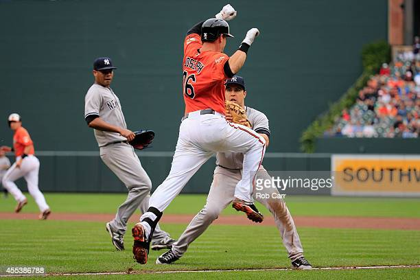 First baseman Mark Teixeira of the New York Yankees tags out Caleb Joseph of the Baltimore Orioles during the seventh inning of the Yankees 32 win at...