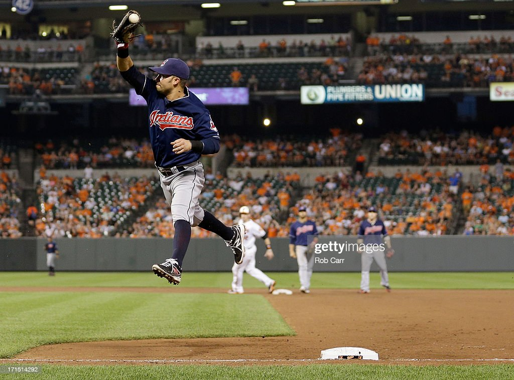 First baseman <a gi-track='captionPersonalityLinkClicked' href=/galleries/search?phrase=Nick+Swisher&family=editorial&specificpeople=206417 ng-click='$event.stopPropagation()'>Nick Swisher</a> #33 of the Cleveland Indians catches an errant throw as Chris Dickerson #36 of the Baltimore Orioles (not pictured) reaches base on an infield single during the seventh inning of the Orioles 6-3 win at Oriole Park at Camden Yards on June 25, 2013 in Baltimore, Maryland.