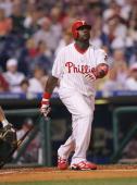First baseman Ryan Howard of the Philadelphia Phillies at bat against the Atlanta Braves on September 13 2005 at Citizens Bank Park in Philadelphia...