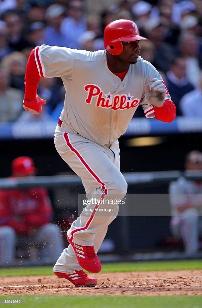 First baseman Ryan Howard #6 of the Philadelphia Phillies takes an at bat against the Colorado Rockies during MLB action on Opening Day at Coors Field on April 10, 2009 in Denver, Colorado. The Rockies defeated the Phillies 10-3.