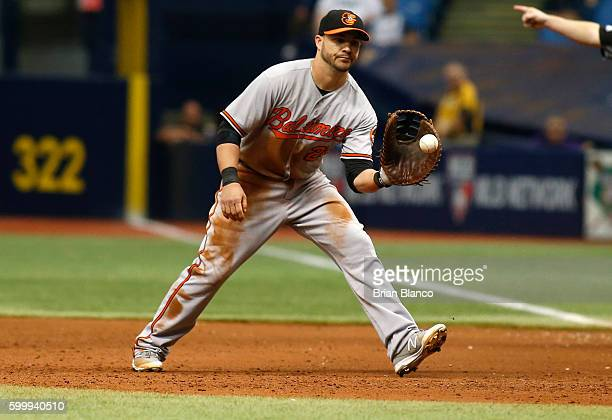 First baseman Steve Pearce of the Baltimore Orioles fields the ground out by Corey Dickerson of the Tampa Bay Rays during the fourth inning of a game...