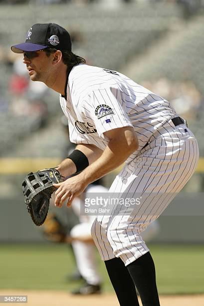 First baseman Todd Helton of the Colorado Rockies in the field during the game against the Arizona Diamondbacks at Coors Field on April 15 2004 in...