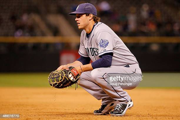 First baseman Wil Myers of the San Diego Padres looks on during a break in the action against the Colorado Rockies at Coors Field on September 18...