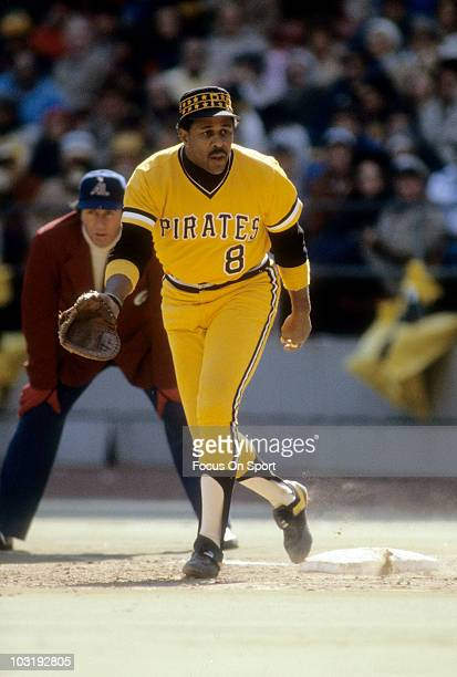 First baseman Willie Stargell of the Pittsburgh Pirates is ready to make a play on the ball at first base against the Baltimore Orioles circa 1979...