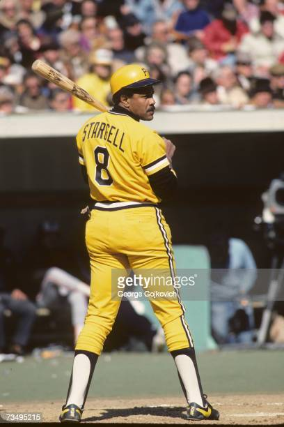 First baseman Willie Stargell of the Pittsburgh Pirates prepares to bat against the Baltimore Orioles in the 1979 World Series at Three Rivers...