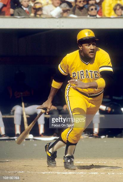 First baseman Willie Stargell of the Pittsburgh Pirates swings and watches the flight of his ball circa 1979 against the Baltimore Orioles in the...