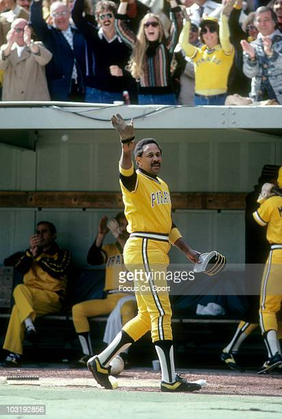 First baseman Willie Stargell of the Pittsburgh Pirates waving to the fans heading into the dougout after hitting a homerun circa 1979 during a Major...