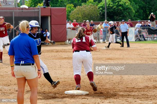 First Basemen Krystin Montoro of Lock Haven catches the ball for the final out during the Division II Women's Softball Championship held at the James...