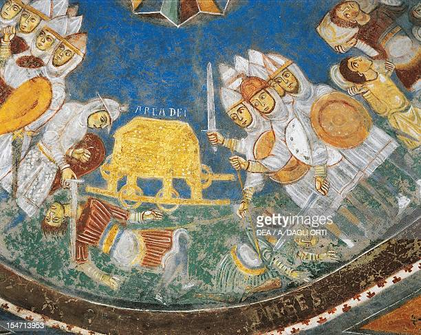 First Book of Samuel the Holy Ark captured by the enemies of Israel and St Elisabeth's Death Early 13th century fresco Crypt of St Mary Cathedral...