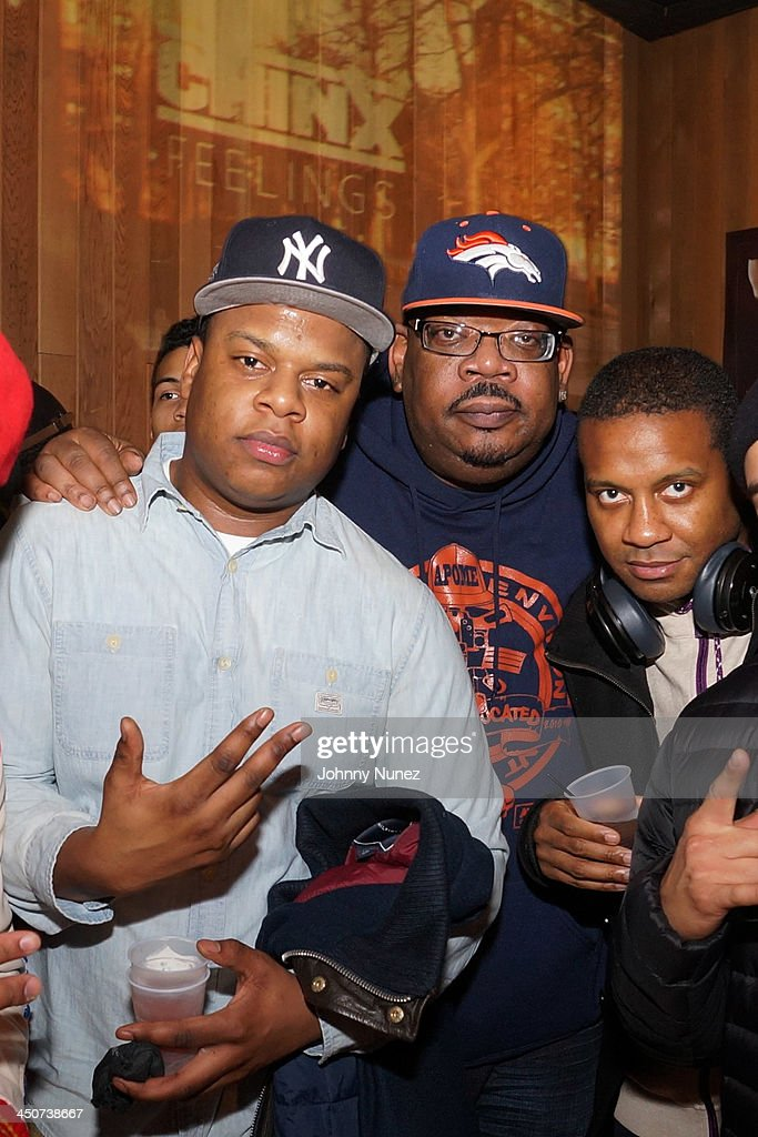DJ First Choice (L) and Big Kap (c) attend the Chinx Drugz Listening Session at Chung King Studios on November 19, 2013 in New York City.