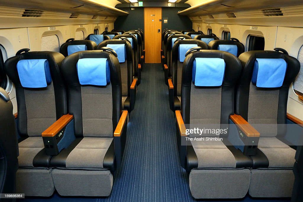 First class coach of the new 'E6' Type Akita Shinkansen 'Super Komachi' is seen during a press preview at JR Omiya Station on January 21, 2013 in Saitama, Japan. The carriage will be launched on March 16, run at 320 kilometers per hour at the highest speed.