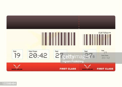 First Class Plane Ticket Or Boarding Pass In Red With Barcode Stock