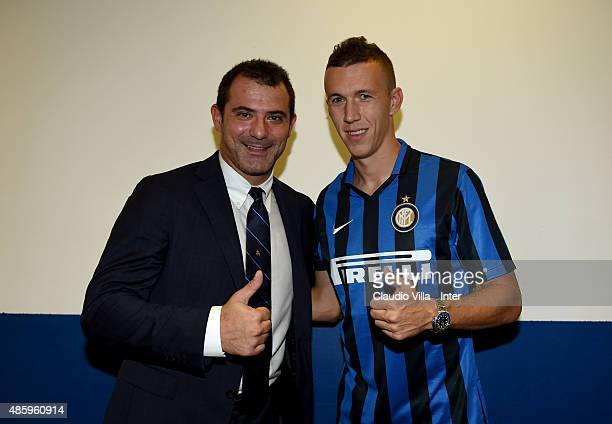 First Club Manager FC Internazionale Dejan Stankovic and Ivan Perisic attend the Serie A match between Carpi FC and FC Internazionale Milano at...