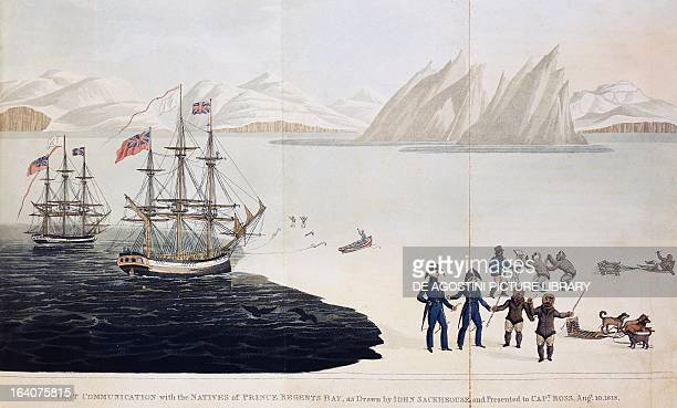 First contact with the natives John Ross meets some Inuits in the Bay of Prince Regent illustration by John Sacheuse from A Voyage of discovery made...
