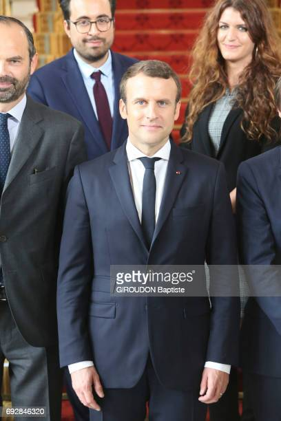 First council of ministers in the Elysee Palace with ministers coming from civil society French President Emmanuel Macron Prime Minister Edouard...
