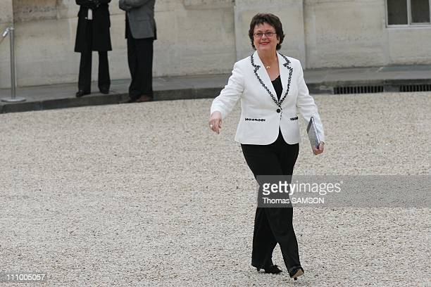 First council of ministers in the new government of Nicolas Sarkozy in Paris France on May 18th 2007 Christine Boutin Minister of Housing and Urban...