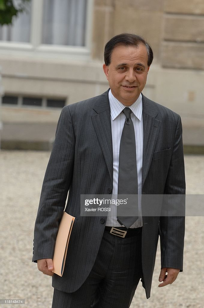 First council of ministers in the new government of Nicolas Sarkozy in Paris, France on May 18, 2007 - <a gi-track='captionPersonalityLinkClicked' href=/galleries/search?phrase=Roger+Karoutchi&family=editorial&specificpeople=4081438 ng-click='$event.stopPropagation()'>Roger Karoutchi</a> State secretary with prime minister responsible for the relations with Parliament.
