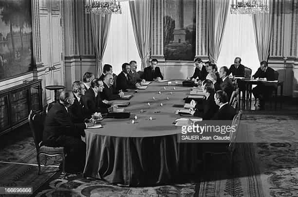 First Council Of Ministers Of Third Messmer Government Paris 6 mars 1974 Premier Conseil des ministres du 3me gouvernement de Pierre MESSMER Dans les...
