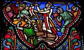 Godfrey of Bouillon (1060 – July 1100) was a medieval Frankish knight who was one of the leaders of the First Crusade from 1096 until his death. This stained glass window in the cathedral of Brussels