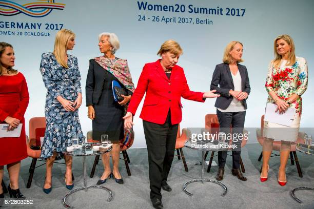 First Daughter and Advisor to the US President Ivanka Trump Christine Lagarde of the International Monetary Fund German Chancellor Angela Merkel and...