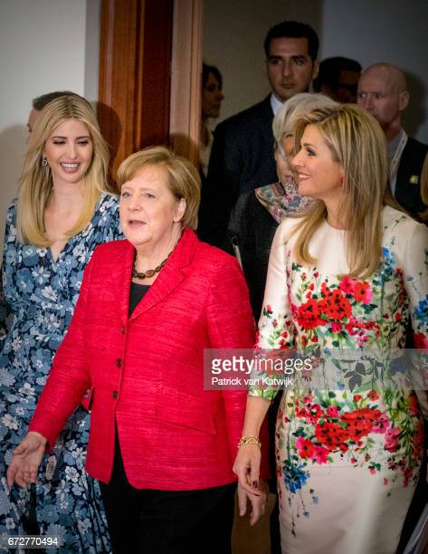 First Daughter and Advisor to the US President Ivanka Trump German Chancellor Angela Merkel Queen Maxima of the Netherlands attend the W20 conference...