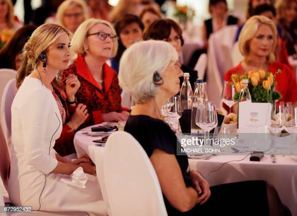 First Daughter and Advisor to the US President Ivanka Trump listens to a speech of the German Chancellor next to Managing Director of the...