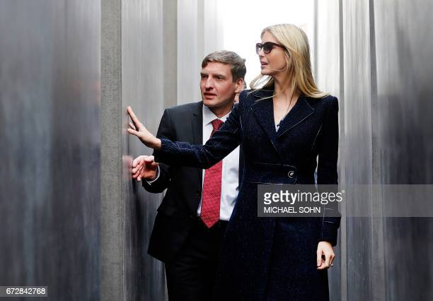 First Daughter and Advisor to the US President Ivanka Trump visits the Holocaust memorial with director of the memorial Uwe Neumaerker during her...
