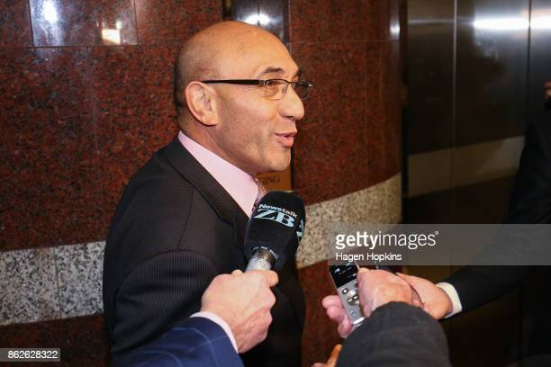 First deputy leader Ron Mark speaks to media as coalition discussions continue at Parliament on October 18 2017 in Wellington New Zealand Neither the...