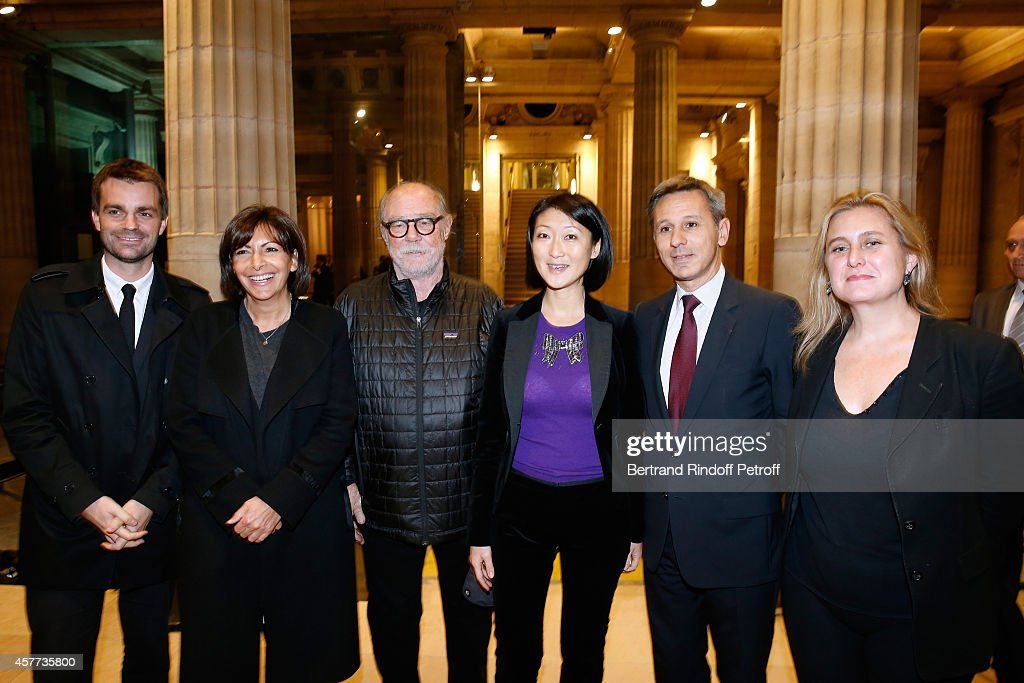 First Deputy Mayor of Paris, responsible for culture Bruno Julliard, Mayor of Paris Anne Hidalgo, Artist Paul McCarthy, French minister of Culture and Communication Fleur Pellerin and President of Monnaie de Paris Christophe Beaux and Director of cultural programmes of Monnaie de Paris Chiara Parisi attend the Monnaie De Paris : Reopening Party with Opening of the McCarthy Exhibition, on October 23, 2014 in Paris, France.