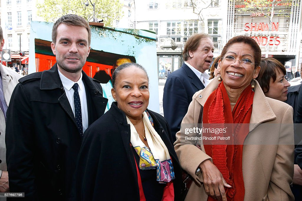 First Deputy Mayor of Paris, responsible for culture Bruno Julliard, politician Christiane Taubira and French Minister of Outre-Mer, George Pau-Langevin attend the Henri Salvador's Square unveiling on May 03, 2016 in Paris, .