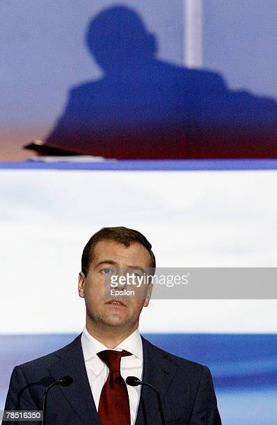 First Deputy Prime Minister Dmitry Medvedev delivers a speech at the congress of the United Russia party on December 17 2007 in Moscow Russia...
