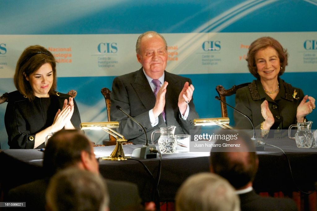 First deputy prime minister, government spokeswoman and minister of the prime minister's office Soraya Saenz de Santamaria, King Juan Carlos od Spain and Queen Sofia of Spain attend 'Sociology and Science Politics 2012 Awards' ( Premio Nacional de Solciologia Y Ciencia Politica 2012) at Zurbano Palace on February 12, 2013 in Madrid, Spain.